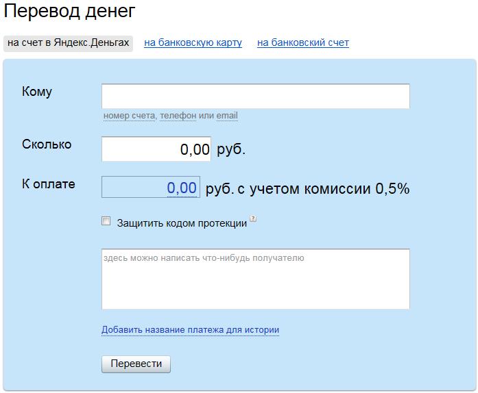 Яндекс.Деньги. Перевод денег
